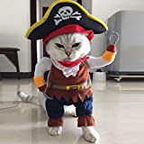Bonjouree Costumes Halloween Chien Chat Petit Vêtements Cosplay Pirate (S)