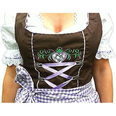 Midi-Dirndl Fiona - marrone lilla-bianco a quadri - verde -