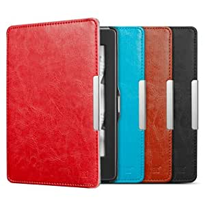 """Anker Synthetic Leather Case Cover for Kindle Paperwhite with Magnetic Auto Sleep Wake Function for New 2014 2013 2012 Amazon Kindle Paperwhite 6"""" 3G / Wi-Fi + 3G - Simple & Lightweight - Red [18-Month Warranty]"""