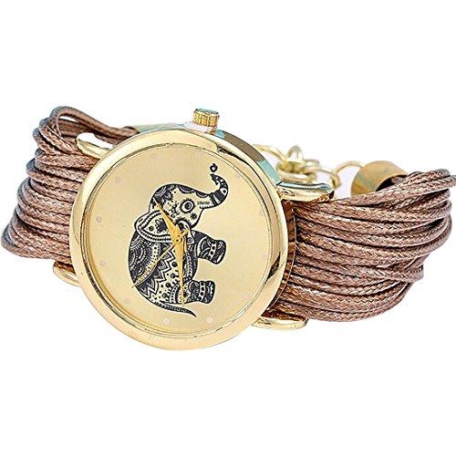 Las niñas elefante patrón cuerda trenzada pulsera cuarzo dial muñeca reloj marrón