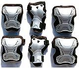 Schutzausrüstung 6 tlg. Set Gr. XS schwarz-silber Ellenbogen Knie Handgelenkschützer für Roller Skate Inliner