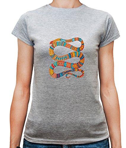 Mesdames T-Shirt avec Colourful Ornamental Snake Illustration imprimé. Gris