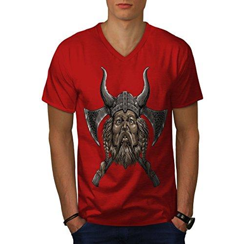 wellcoda Wikinger Helm AXT Männer 2XL V-Ausschnitt T-Shirt