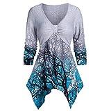 Shirt Damen Plus Size Baum Print V-Ausschnitt Tops Frauen Casual Langarm Tops Marmorierte Baum Print Asymmetrische Langarm T-Shirt L-5XL