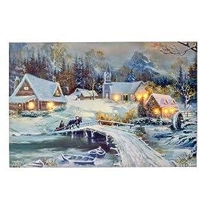 LED Bild Winter-Blick, Wandbild, Leuchtbild, Leinwand, 40x60