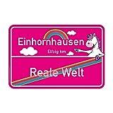 Einhorn Deko-Orts-Schild rosa | Bye bye reale Welt | Willkommen in Einhornhausen | 297 x 210 mm | Türschild oder als Wand-Deko