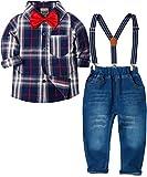 ZOEREA 4 Pièces Vêtements Ensemble de Bébé Garçon Manches Longue Carreaux Chemise + Bleu Jeans +...