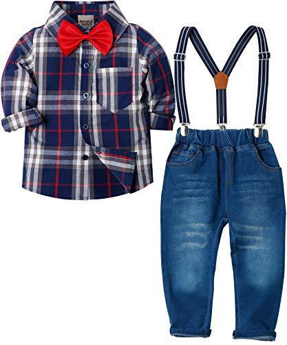 Zoerea Baby Jungen Bekleidungssets Hosen & Shirt Gentleman Hosenträger Krawatte Jeans Kleinkind Outfits Dunkelblau,Größe 100