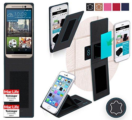 reboon Hülle für HTC One M9s Tasche Cover Case Bumper | Schwarz Leder | Testsieger