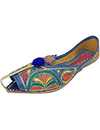 Step n Style Rajastán indio Boho Hippie bordado mujeres sandalias Mojari, hecho a mano, color, talla 35.5