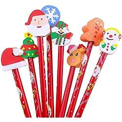 JUNGEN® 5PCS Lápiz de Navidad de Linda HB Lápiz de Madera con borradores de dibujos animados Creativa Navidad Papelería Regalo para niños