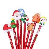 Ruikey di Natale in legno matite con gomma cute Cartoon HB matita Student premi come regalo di Natale per i bambini, set di 5