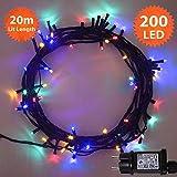 Guirlande Lumineuse 200 LED Multicolore lumières de Noël extérieure et intérieure avec 8 fonctions de mode Alimentation Secteur avec Longueur éclairée 20m Câble Vert - 2 ans de Garantie