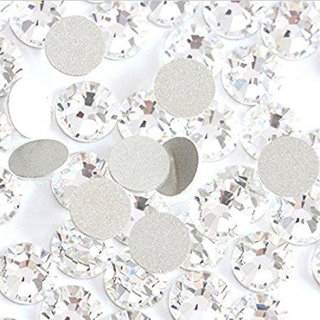 Glas-Strasssteine mit flacher Rückseite, Strasssteine, Strasssteine, Weiß, 1440 Stück pro Beutel, glänzende nicht Hotfix-Strass-Dekorationen für Nägel ss4 - Karte Glas-steinen