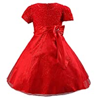 Waboats Bow Girl's Special Occasion Dress Wedding Gowns 4 years Red