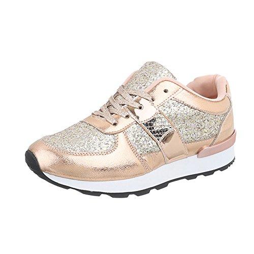 Ital-Design Sneakers Low Damen-Schuhe Sneakers Low Sneakers Schnürsenkel Freizeitschuhe Pink Gold, Gr 38, G-102-
