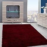 Teppiche PRIME SHAGGY für Wohnzimmer, Esszimmer oder Gästezimmer hochflor shaggy einfarbig Teppiche mit 3 cm Florhöhe 9000, Farbe:Rot, Maße:80x150 cm