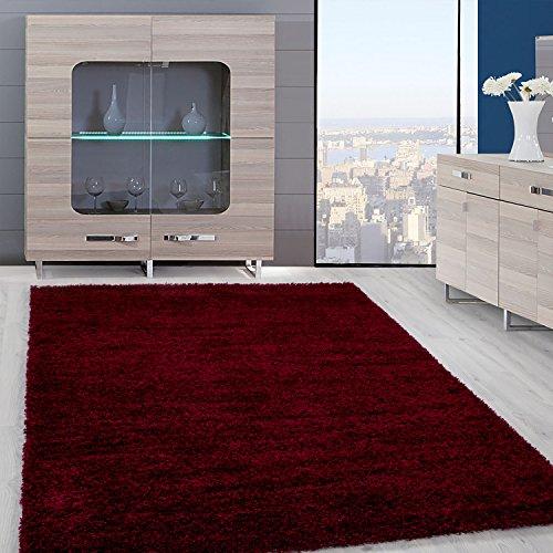 Teppiche Hochflor PRIME Shaggy für Wohnzimmer, Esszimmer. Gästezimmer mit 3 cm Florhöhe. Einfarbig Shaggy Teppiche OEKOTEX zertifizierte Teppiche. Schwarz Rot Beige Mocca Cream Pink. Verschiedene Farben und Größe 9000, Farbe:Rot, Maße:120x170 cm