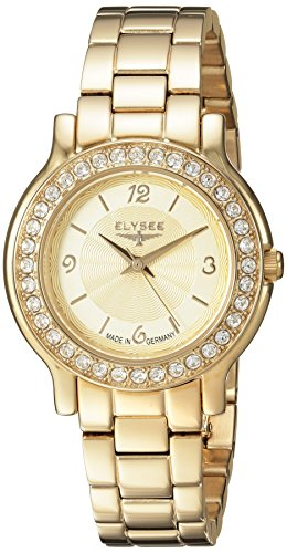 ELYSEE Women's Helena 32mm Gold-Tone Steel Bracelet Gold Plated Case Quartz Analog Watch 28611