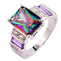 KYJ Lady Ring Cocktail Fire Rainbow Silver Ring Size 6 7 8 9 10 11 12 13 Can Better Reflect Your Personal Charm
