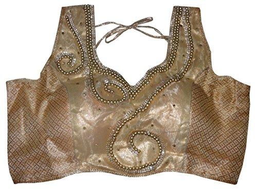 Bigfashionshop Women's Designer Blouse Brocade Silk Golden Stitched Padded Choli Medium  available at amazon for Rs.799
