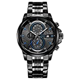 CADISEN Herren Armbanduhr Chronograph Kalender Quarz Wasserdicht Militär Schwarzes mit Edelstahl Armband Blau C9054MNNU