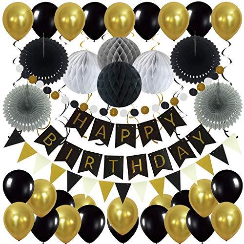 Zerodeco Geburtstag Dekoration, Happy Birthday Banner Wabenbälle und Fächerdekoration Papier Girlande Fächer Dreieckige Wimpel Spiral Girlanden und Luftballon - Schwarz, Gold und Grau