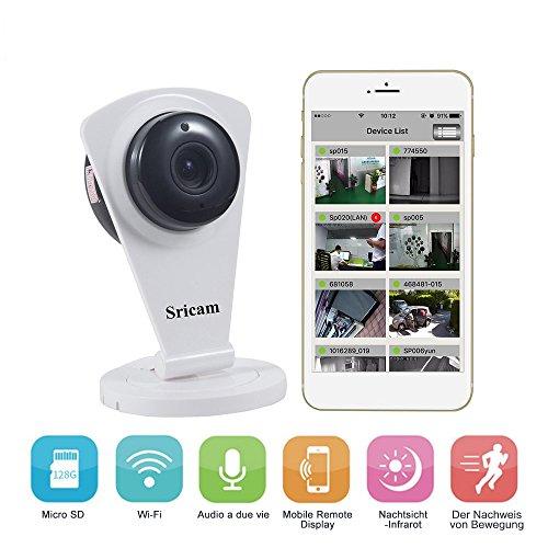 IP Kamera HD LESHP 720p mit APP für Android und IOS, drahtlose Überwachungskamera mit Alarmfunktion, Bewegungssensor Spracherkennung und Nachtsicht mit Mikrofon und Lautsprecher Gegensprechanlage
