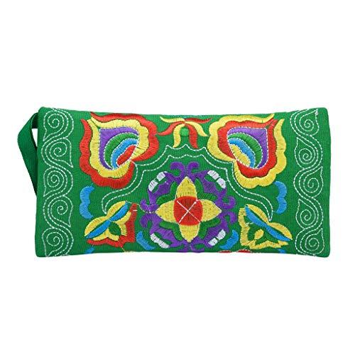 Frauen Ethnische Handgemachte Geldbörse Bestickt Wristlet Clutch Bag Vintage Wallet(Grün)