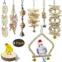 Aidiyapet AIDIYA 8 Packs Bird Toy Bird Parrot Swing Chewing Toys Birdcage Stands - Natural Wood Hanging Bell Bird Cage Toys Suitable for Small Parakeets, Cockatiels, Conures, Finches,Budgie,Macaws,