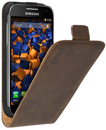mumbi PREMIUM Leder Flip Case für Samsung Galaxy S4 mini Tasche braun
