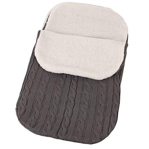 2 Wärme Wraps (Säugling Winter Flausch Schlummersack Warm Swaddle Decke Babydecken Pucktücher Gestrickt Kinderwagen Wrap Strickwolle Sicherheitsdecken für 0-8 Monat Neugeborenes Baby (Dunkelgrau))