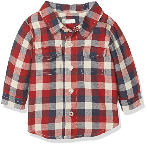 United Colors of Benetton 5BBU5Q2KE, Camicia Bimba, Multicolore (Red/Navy/Cream), 12 Mesi (Taglia Produttore: 74)