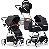 3in1 Kombi Kinderwagen OPTIMO Anthracite Komplettset - Leder & Aluminium Tech