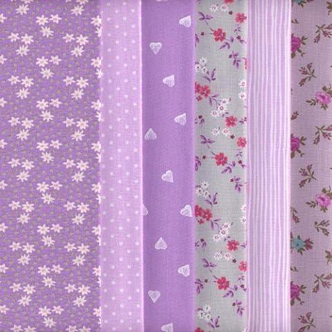Textiles français - Juego de telas (6 piezas, 100 % algodón), color morado
