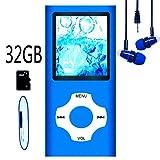 Hotechs MP3-Player/MP4-Player, MP3-Player mit 32 GB Speicherkarte, schlankes Design, digitales LCD-Display, 4,6 cm (1,8 Zoll) Display, FM-Radio (Blau mit Weiß) -