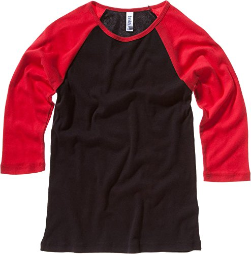Bella bébé de toile Rib manches 3/4 T-shirt Contraste Raglan Multicolore - Noir/rouge