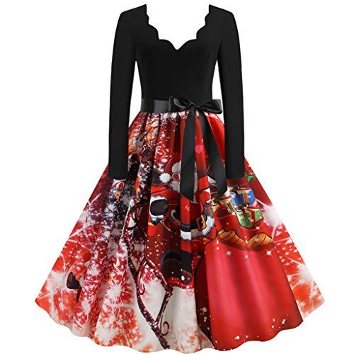 Simayixx Weihnachten Party Kleider Damen Vintage Retro Audrey Hepburn Kleid Cocktailkleid Rockabilly V-Ausschnitt Faltenrock Ärmel Kleider Jahrgang Weihnachtskleider -
