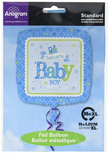 Amscan Ballon Welcome Baby Boy. Zug-Design, quadratisch, (Baby Geburt Kostüm)