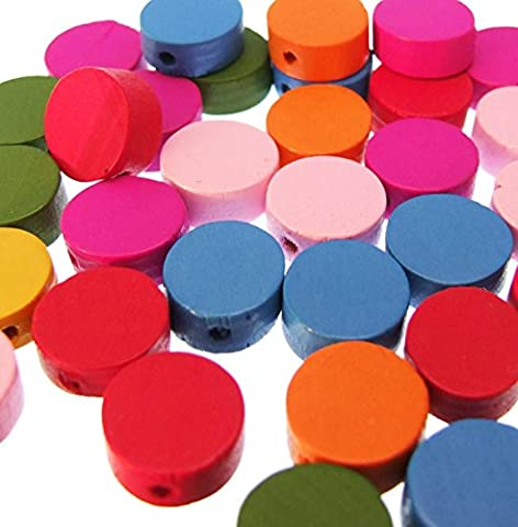 20pièces de monnaie en bois perles Rond Plat 13mm Couleurs vives mélangées en bois