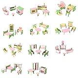 SODIAL 49 Pcs 11 Ensembles Bebe En Bois Meubles Poupees Maison Miniature Enfant...