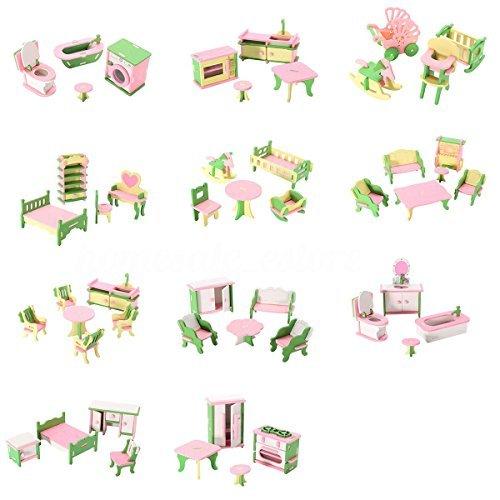 SODIAL 49 piezas de 11 Juegos de Muebles de madera para bebes para Casa de munecas en miniatura Juguete de regalo para los ninos para jugar
