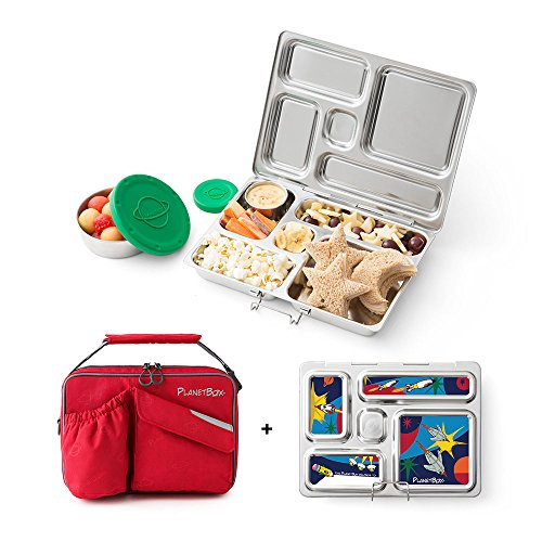 PlanetBox Rover Lunchbox- Red Carry Bag with Rocket Magnets by PlanetBox
