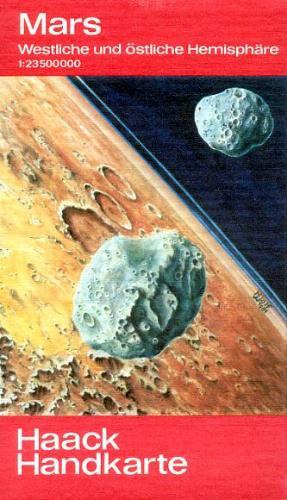 Kosmos-Handkarte Mars: Westliche und östliche Hemisphäre. 1:23500000