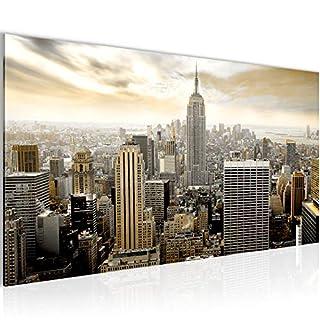 Runa Art Bilder New York City Wandbild Vlies - Leinwand Bild XXL Format Wandbilder Wohnzimmer Wohnung Deko Kunstdrucke Braun 1 Teilig - Made IN Germany - Fertig zum Aufhängen 603412a