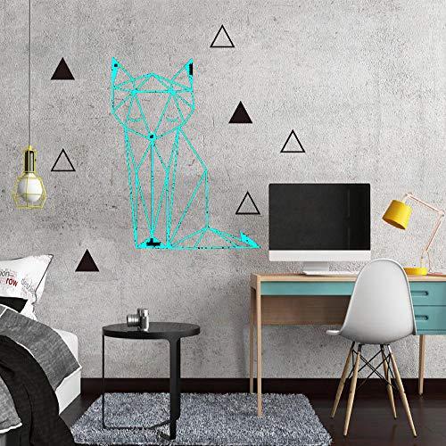 Ajcwhml Schöne geometrische Fuchs wandaufkleber entfernbare Aufkleber tapete für Kinder Baby Zimmer Familie Schlafzimmer Dekoration Vinyl Wand Applikation wandbild blau 43 cm x 49 cm