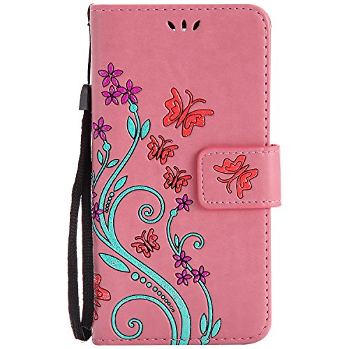 LG K8 Case Pink Leather, Cozy Hut Retro Butterfly Flower Patterned Embossing PU Leather Stand Function Protective Cases Covers with Card Slot Holder Wallet Book Design Detachable Hand Strap for LG K8 - Pink