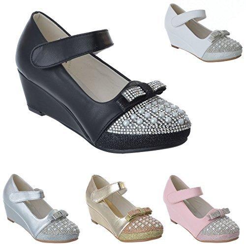 Filles Enfants Talon Bas compensé Diamant Fête Mariage Babies Sandales Chaussures Pointure
