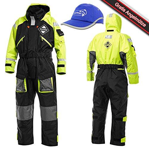 Fladen Flotationganzug Flotation Suit mit Mütze (Schwarz/Gelb, XXL)