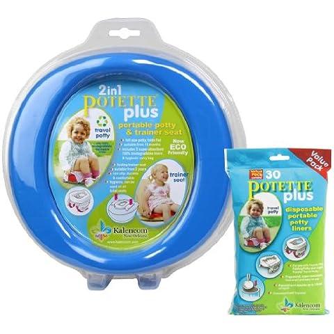 Kalencom–Bolso cambiador 2en 1portátil Potette Plus potty-toilet formación asiento con 30Potty Liners